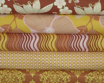 Amy Butler Fabric, Full Yard Bundle, Midwest Modern, Brown and Gold Bundle, 5 Yards Total