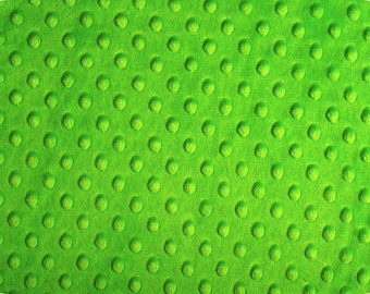 Minky Dot Fabric, Cuddle Dimple in Dark Lime, 1 Yard