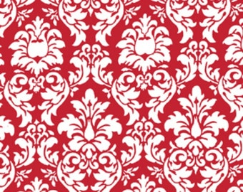 Michael Miller Fabric, Dandy Damask in Rouge, Red and White Fabric, 1 Yard Total