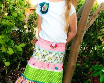 Pink Fig Patterns, Notting Hill Skirt and T-shirt-Sizes, 12 months to 12 years