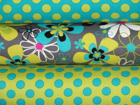Michael Miller Fabric, Full Yard Bundle, Far Out Floral and Ta Dot, 3 Yards Total