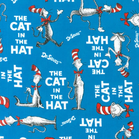 Dr. Seuss Fabric, The Cat in The Hat in Blue, Celebrate Seuss from Robert Kaufman Fabrics, 1 Yard Total