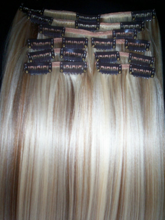 "Human-like 9 Piece Clip on-in hair extensions 20"" AWESOME Blonde/Golden Brown mix. MORE MIXES"