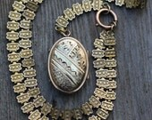RESERVED -Victorian Gold Filled Book Chain and Locket