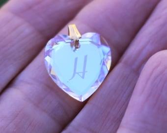 Pretty Aurora Borealis Heart Charm with Inital H