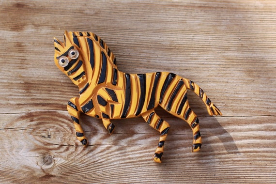 Painted and Carved Bakelite Zebra - Reduced