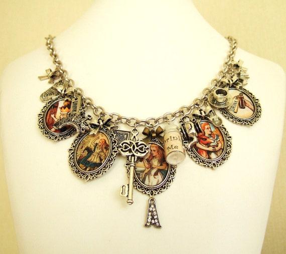 Alice in Wonderland Necklace Altered Art Charm Necklace Alice Necklace Alice in Wonderland Jewelry