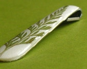 Recycled Spoon Handle Pendant: White with Green Fern