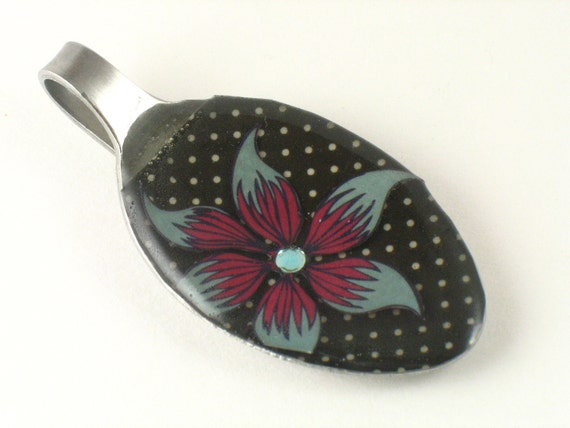 Recycled Spoon Pendant - night bloom, eco friendly silverware necklace, ooak one of a kind