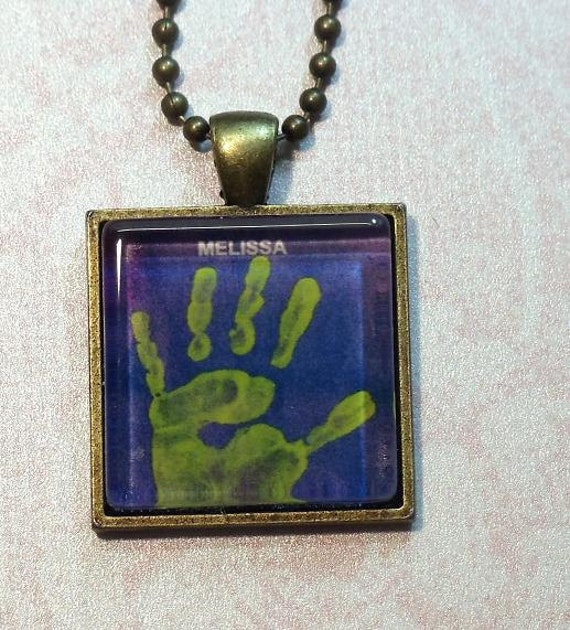 Custom Handprint Pendant Necklace/ Your Choice of Neckwear and Length Free Shipping