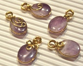 Lot of 5pcs - Amethyst Charm Pendants - Wire Wrapped in Golden Brass