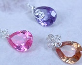 Set of 3 pcs - Colorful Crystal Charm Pendants - Wire Wrapped in Sterling Silver