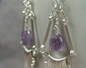Artisan Handcrafted Sterling Silver Filigree Earrings - set with amethyst gems