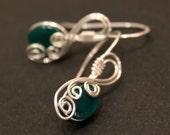 Green Agate Silver Swirls Earrings