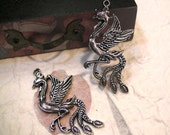 2 pcs - Pheonix Pendants - Antique Silver Plated - 28mm x 58mm