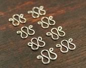 8 pcs - 3 Loop links Connectors- Sterling Silver - Handmade