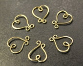 6 pcs - Brass Curly Heart Connector Charms - handmade