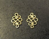 2 pcs - Brass Celtic Knots - Infinity - handmade - 19mm x 13mm