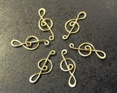 12 pcs - Brass Musical Notes Connector Charms - handmade