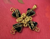 Black Onyx ... Brass Wire Cross Pendant