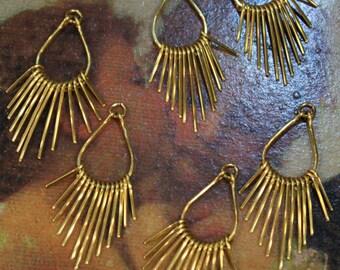 Golden Brass Fringe Charm Findings - Artisan Handcrafted