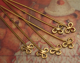 6 pcs - Simple Clover Golden Brass Headpin Findings - handmade