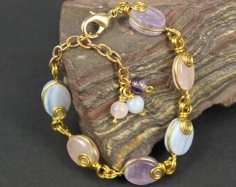 Amethyst, Rose Quartz and Blue Lace Agate Gems  Brass Wire Bracelet ... very pastel color