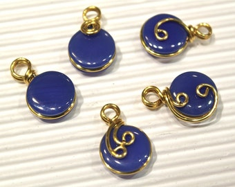 Lot of 5pcs - Blue Agate Charm Pendants - Wire Wrapped in Golden Brass