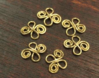 6 pcs - Double 8 Connector Links - Golden Brass - handmade - 15 x 12.5mm