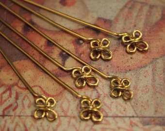 6 pcs Daisy Floral Headpins - Brass - handmade