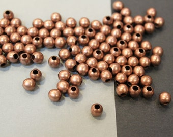 20 pcs - Antique Copper Round Spacer Beads - 6mm - Large Hole