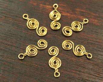 12 pcs - S Shape Brass Dangle Swirl Charms - handmade