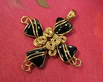 Black Onyx ... Brass Wire Cross Pendant