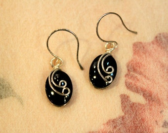 Artisan Handcrafted Sterling Silver Earrings - set with black onyx gems