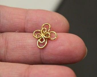 12 pcs - Double Layers Flower Connector Links - Golden Brass - handmade - 15 x 17mm