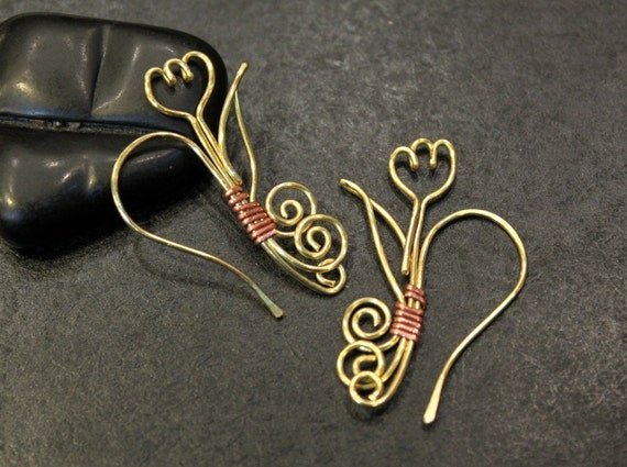 1 Pair - Artisan Handmade Tulip Earwires - Golden Brass and Copper Wire
