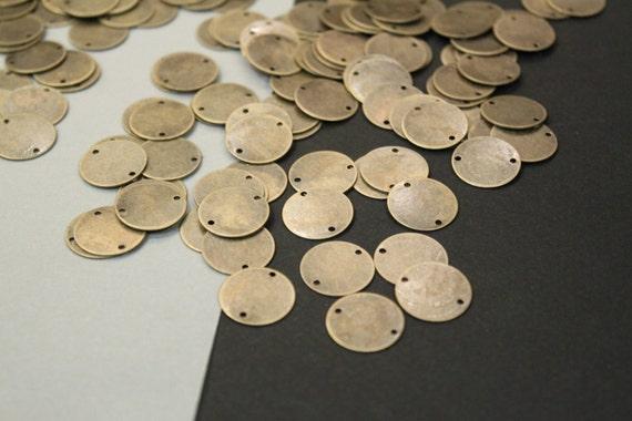15pcs ... Antique Bronze Round Disc Pendants Connectors ... 16mm