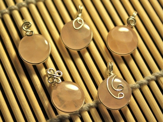 Lot of 5pcs - Pink Rose Quartz Charm Pendants - Wire Wrapped in Sterling Silver