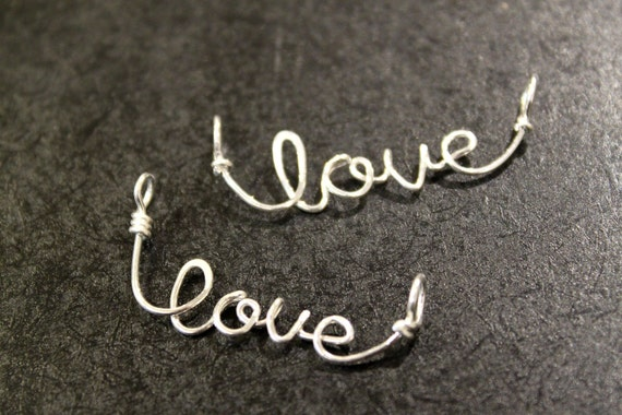 2 pcs - Sterling Silver Love Pendants Charms Connectors - handmade