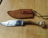 Custom Knife, Bowie Knife, Knife Hand Made with Custom Made Leather Sheath, Hunting Knife