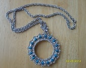 Silver Dollar Bezel  with Turquoise Beads, Necklace Supplies, Jewelry Supplies