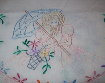 Vintage Dresser Doily Hand Embroidered Table Runner with Victorian Lady wth Umbrella