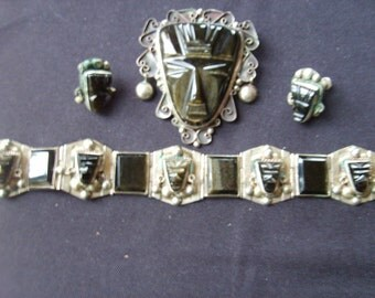 Vintage Mexican Black Stone Jewelry, Brooch Set Black Stone Face Jewelry, Mexican Sterling Silver Jewelry, Black Stone Face Set (4 pieces)