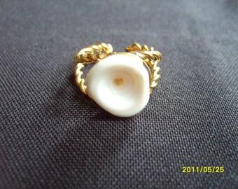 Puka Shell, Ring, Hawaiian Jewelry, Puka Shell Ring, fashion funky hippie surfer costume ring