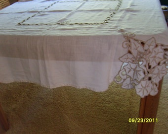 Linen Tablecloth, Vintage Tablecloth, Cutwork Tablecloth, Vintage Linen,  Floral Dinner Table Cover Morning Glory Like Design