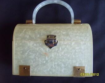 Vintage Purse,  White Pearlized Lucite Accessories, Fashion Purse