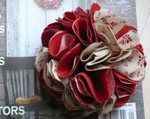 Fabric Flower Pin/Brooch Set of 2  -Red and Beige - Party Favor  -  Embellishment
