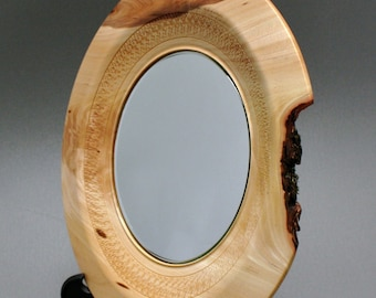 Wooden Elm Plate with Mirror Hand turned