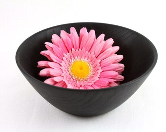 Wooden Chestnut Bowl  painted black