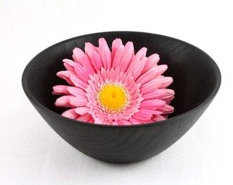 Wooden Chestnut Bowl  painted black